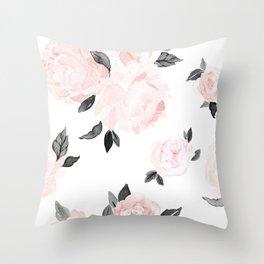 Vintage Blush Floral - BW Throw Pillow