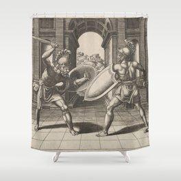 Vintage Gladiator Sword Fight Illustration (1560) Shower Curtain