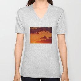 Orange sunset sky Unisex V-Neck