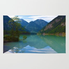 Morning Reflections on Kinney Lake in Mount Robson Provincial Park, British Columbia Rug