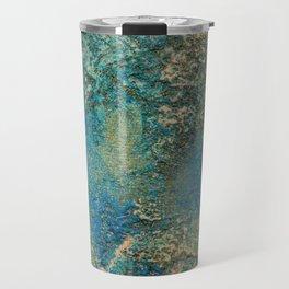 Blue And Gold Modern Abstract Art Painting Travel Mug