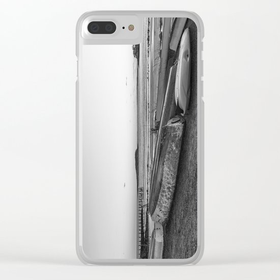 Magnolia Pier at sunset Black and white Clear iPhone Case