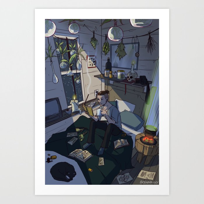 Modern Male Witch Bedroom Art Print By Brennaivy Society6