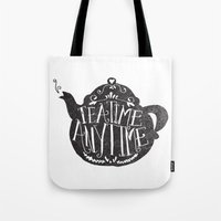 lettering Tote Bags featuring TEA TIME. ANY TIME. by Matthew Taylor Wilson