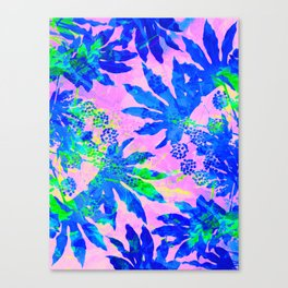 Tropical Adventure - Neon Blue, Pink and Green #tropical #homedecor Canvas Print