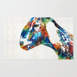 Colorful Goat Art By Sharon Cummings Rug