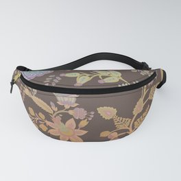 Chateau Brown Chinoiserie Decorative Floral Motif Chintz Fanny Pack