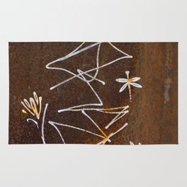 Dragonfly and Flower Graffiti on Rust Rug