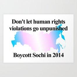 Boycott Sochi - Transgender Flag Gradient Art Print