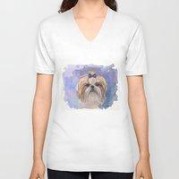 shih tzu V-neck T-shirts featuring Shih tzu  by Michelle Behar