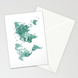 World map in watercolor green Stationery Cards