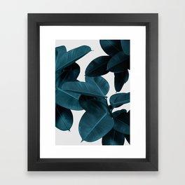Indigo Plant Leaves Framed Art Print