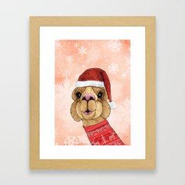 Alpaca Christmas Framed Art Print