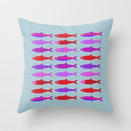 Colorful fish school pattern Throw Pillow