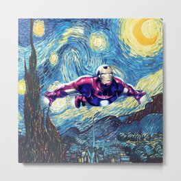 Flying Heroes in Starry Night Sky Metal Print