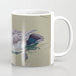 Red Crested Pochard (Netta Rufina) Colored Pencils Artwork Coffee Mug
