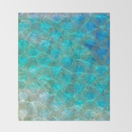 Sea Ocean Waves effect- Gold and Aqua Scales Pattern Throw Blanket