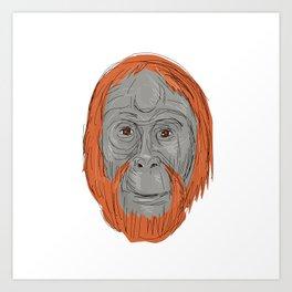 Unflanged Male Orangutan Drawing Art Print