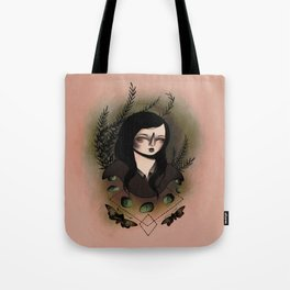 Girl With Moths Tote Bag