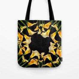 Golden Calla Lilies Black Garden Art Tote Bag