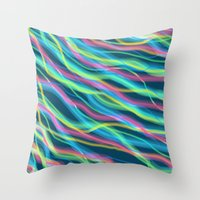 80s Throw Pillows featuring 80s Ripple by Beth Thompson