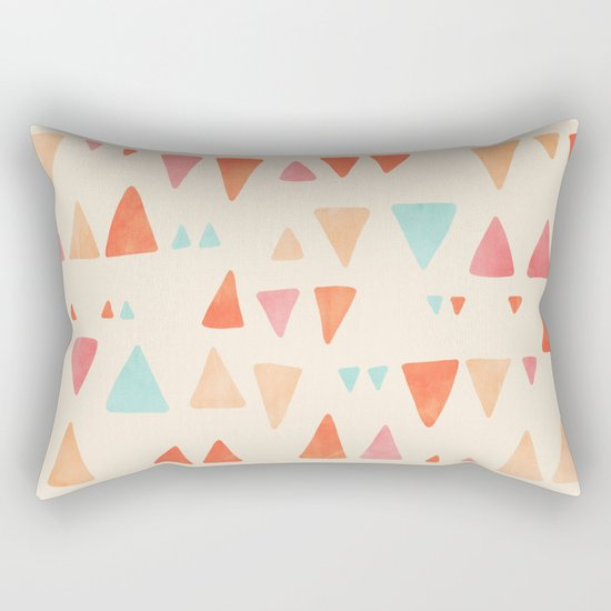 Back & Forth - triangle abstract pattern in peach, aqua & cream Rectangular Pillow