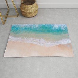 Tropical teal turquoise ocean sandy beach Rug