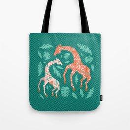 Pink Dancing Giraffes on Teal Green Tote Bag