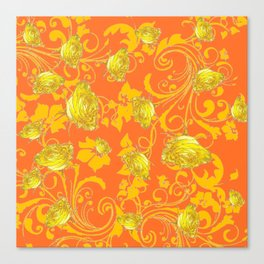 AWESOME CUMIN ORANGE & YELLOW ROSE SCROLLS  ART Canvas Print