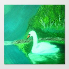 Swan In Lake Painting Canvas Print