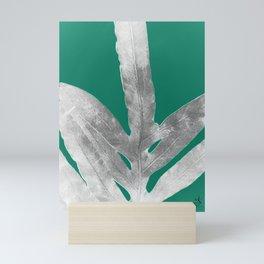Christmas Fern, Holiday Green with Silver Winter Leaf Mini Art Print