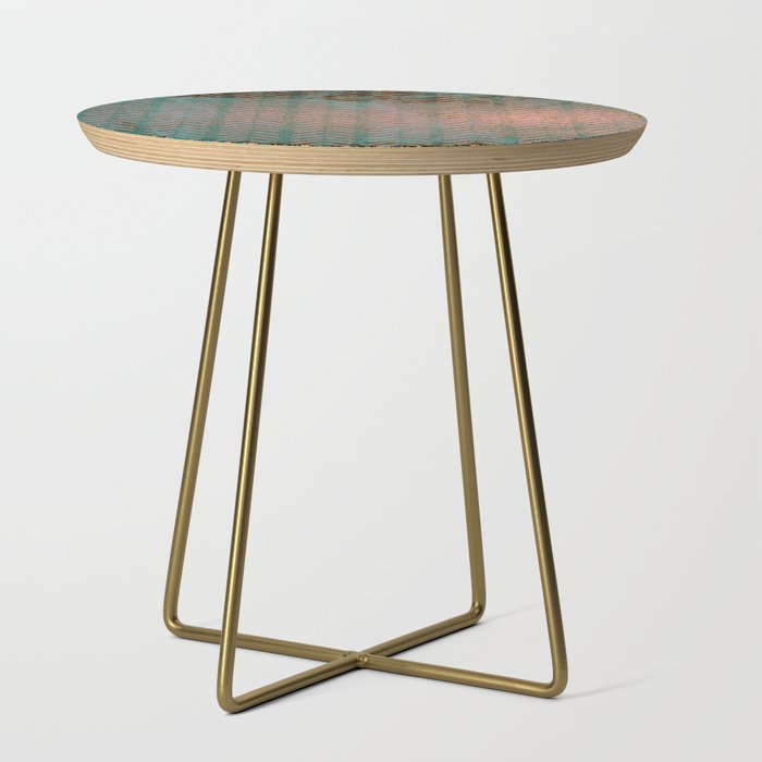 Rustic Copper And Teal Marble Chevron Side Table By Lauragordon