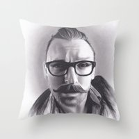 robert farkas Throw Pillows featuring Realism Charcoal Drawing of Artist Damon Lucas Farkas by Brittni DeWeese