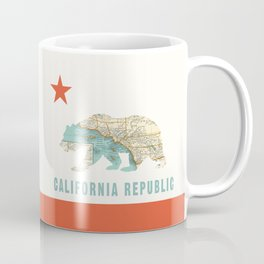 California Bear Flag with Vintage Map Coffee Mug