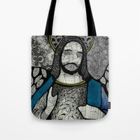 jesus Tote Bags featuring Jesus  by Luciana Pupo