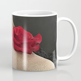 Glitter Gold Stiletto and Two Red Roses Coffee Mug