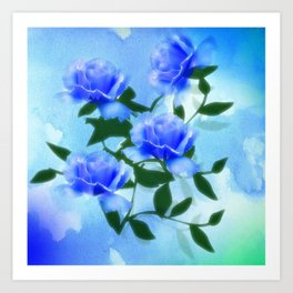 Heavenly Blue Floral Abstract Art Print