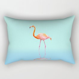 Low Poly Flamingo with reflection Rectangular Pillow