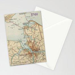 Vintage Map of Norfolk and Portsmouth VA (1919) Stationery Cards