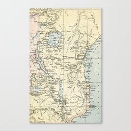 East Africa Vintage Map Canvas Print