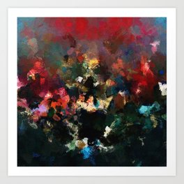 Emotional Abstract Artwork with Dark Colors Art Print