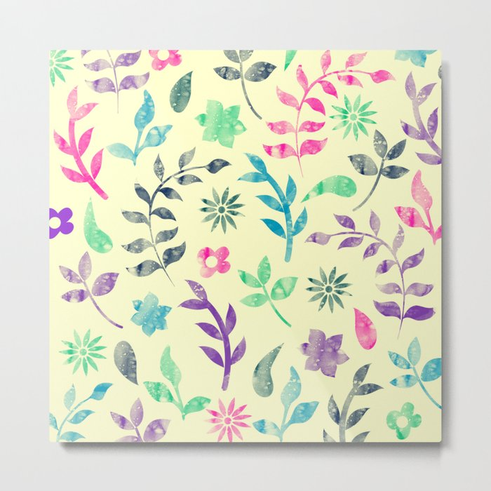 Colorful Floral Pattern V Metal Print