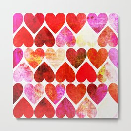 Mod Red Grungy Hearts Design Metal Print