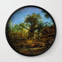 View of the Limousin pastures by Jules Dupré Wall Clock