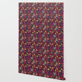 Autumn seamless pattern with floral decorative elements, colorful design Wallpaper
