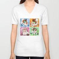okami V-neck T-shirts featuring Okami Set by Jazmine Phillips