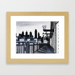 Philadelphia Skyline B&W Framed Art Print