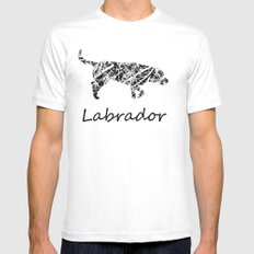 Labrador Scribble White MEDIUM Mens Fitted Tee