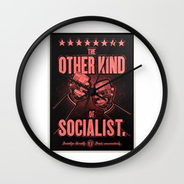 "Vintage ""The Other Kind of Socialist"" Alcoholic Lithograph Advertisement in red Wall Clock"