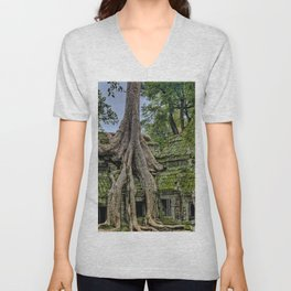 Ruins of Angkor Wat Temple Being Overgrown by Ancient Roots of Banyan Tree Unisex V-Neck